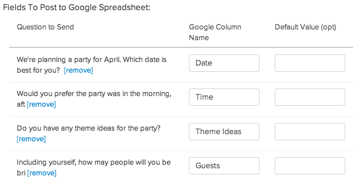 Google Sheets Finished Setup in SurveyGizmo