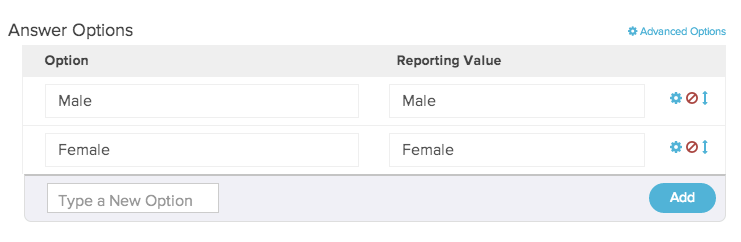 Answer Options with Reporting Values