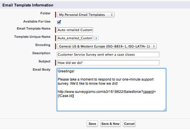 Email A Survey Via Salesforce SurveyGizmo Help - Set up email template