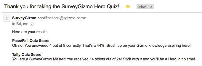 Quiz Results Within Email