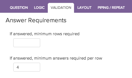 Require Settings: Minimum Answers Per Row Setting