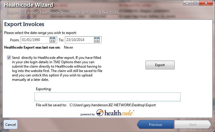 Exporting Invoices To Healthcode Desktop - Open invoice login